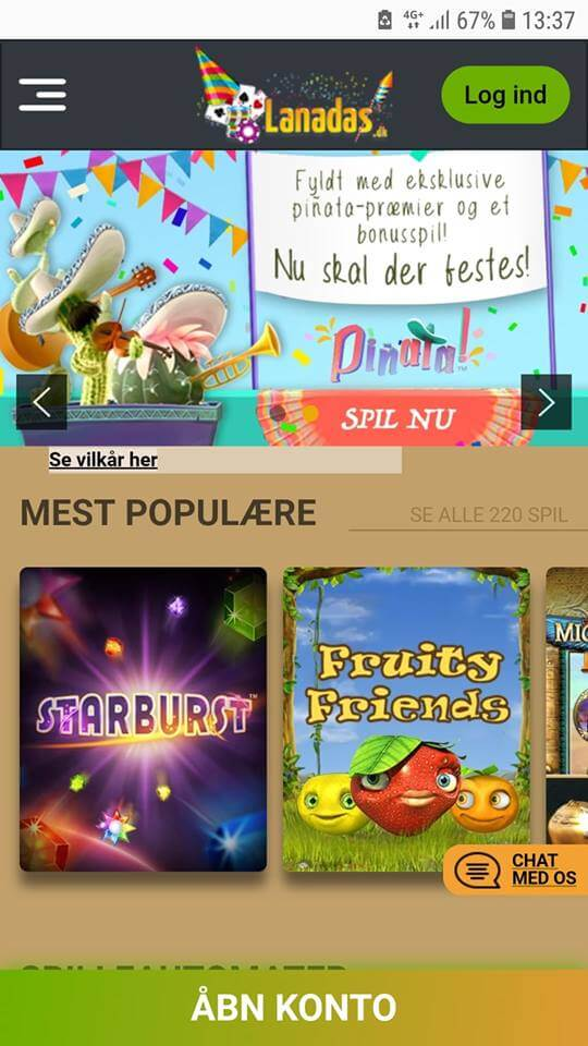 Mobil casinoet på Lanadas fungerer godt for både Iphone og Android.