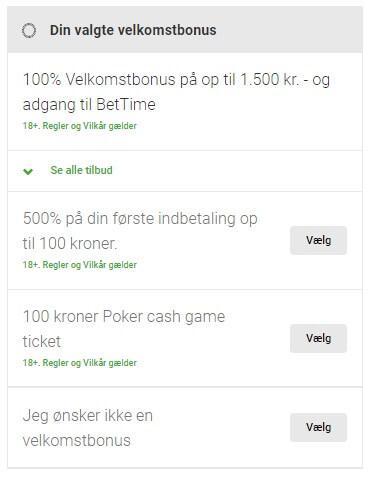 Du kan vælge mellem to indbetalingsbonuser som en ny casino-spiller hos Unibet.