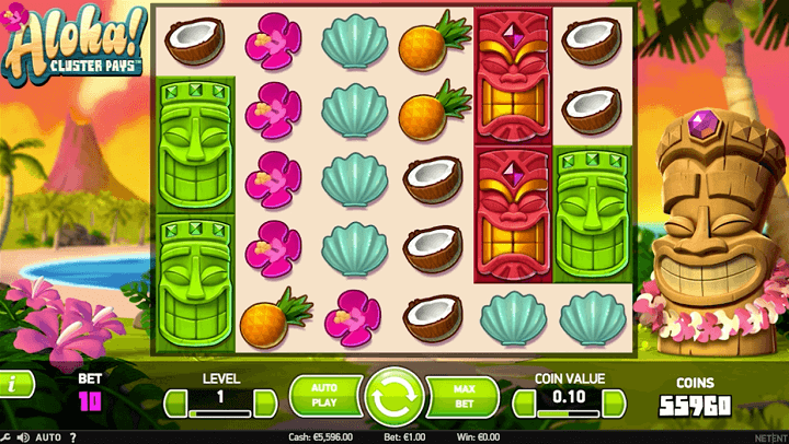 Oversigt over Aloha - et slot spil fra NetEnt med 6 hjul og 5 rækker.
