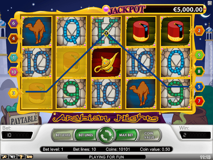 Arabian Nights har 5 hjul, 3 rækker, 10 gevinstlinjer, Wilds, Scatters og free spins.