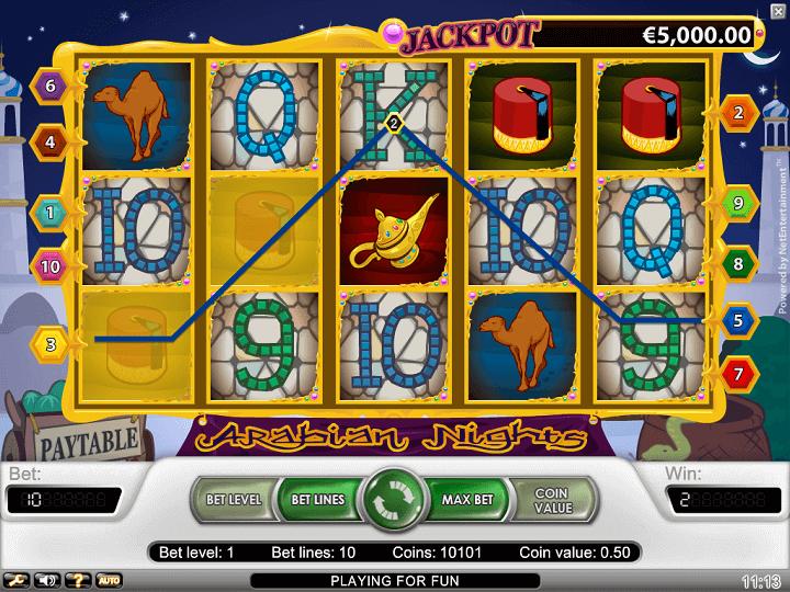 Arabian Nights har 5 hjul, 3 rækker, 10 gevinstlinjer, Wilds, Scatters og free spins.