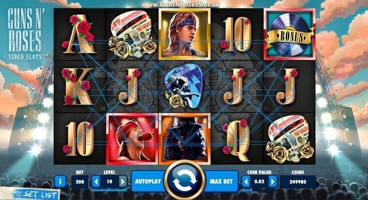 Guns N'Roses spilautomat har 5 hjul, 3 rækker, 20 gevinstlinje og 6 bonusspil inklusive free spins.