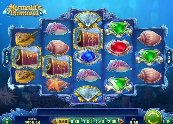 Overview of Mermaid's Diamond spilleautomat with 5 wheels and 720 possibilities to win.