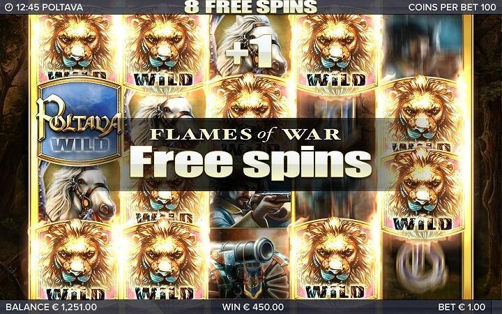 De free spins aktiveres med tre bonus løver