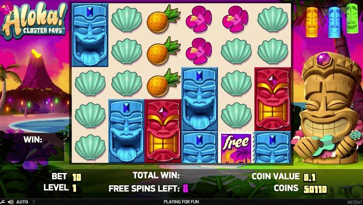 Bonus spillet i Aloha Cluster Pays har flere free spins funktioner.