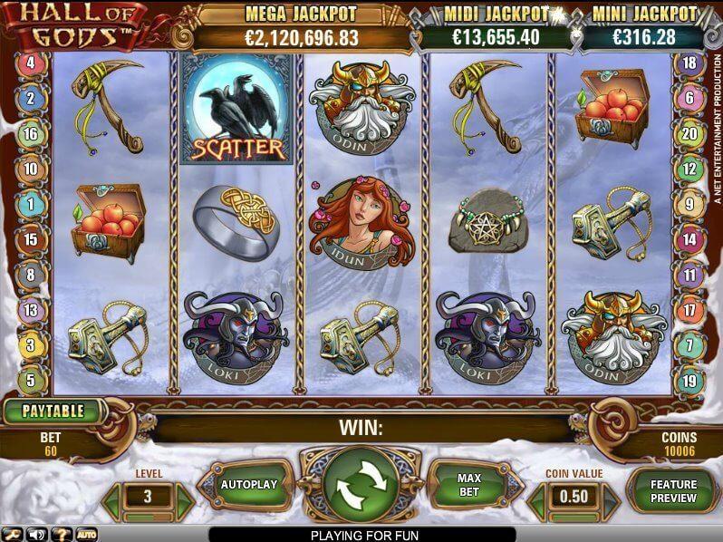 Hall of Gods spilleautomat har 5 hjul, 3 rækker, 20 gevinstlinjer, en jackpot, bonusspil og selvfølgelig free spins.