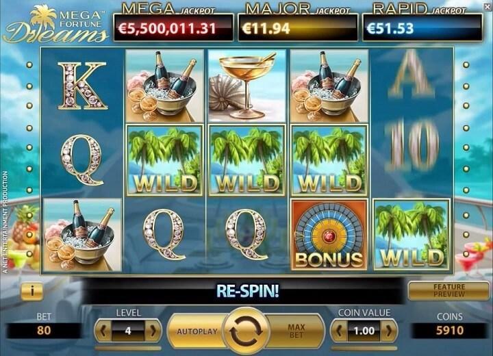 Mega Fortune Dreams har 5 hjul, 3 rækker og 20 gevinstlinjer og inkluderer en stor jackpot samt free spins.