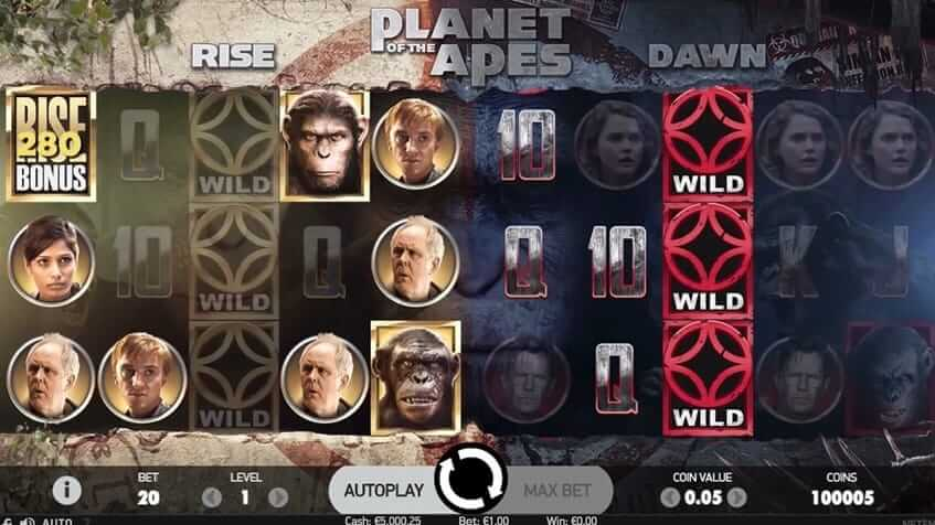 Rise- og Dawn-bonussymboler med forskellige værdier i NetEnts online spilleautomat Planet of the Apes