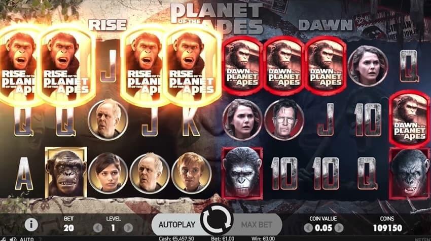NetEnts nye spilleautomat Planet of the Apes har 5 hjul og 20 betalingslinjer