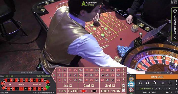 Et screenshot af autentisk gaming live roulette bord set ovenfra.