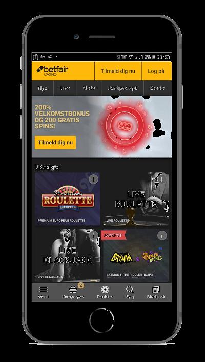 Det mobile casino hos Betfair har de samme spilleautomater og Live Casino-funktioner som når du spiller på computeren.