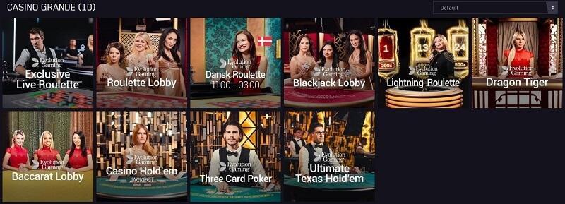 """""""Casino Grande"""" er navnet på Marias live casino."""