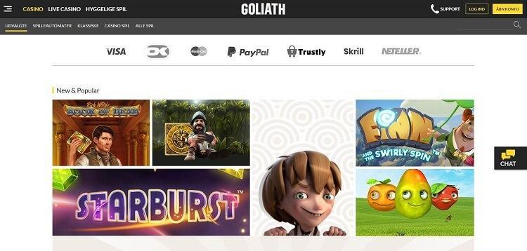 Skærmbillede af Goliath danske casino hjemmeside - læs hele anmeldelsen og hvorfor jeg ikke ville åbne en casino konto her.
