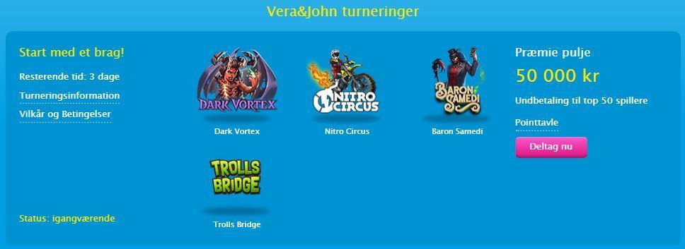 Som fan af online video slotmaskiner kan jeg lide de regelmæssige turneringer hos Vera & John.