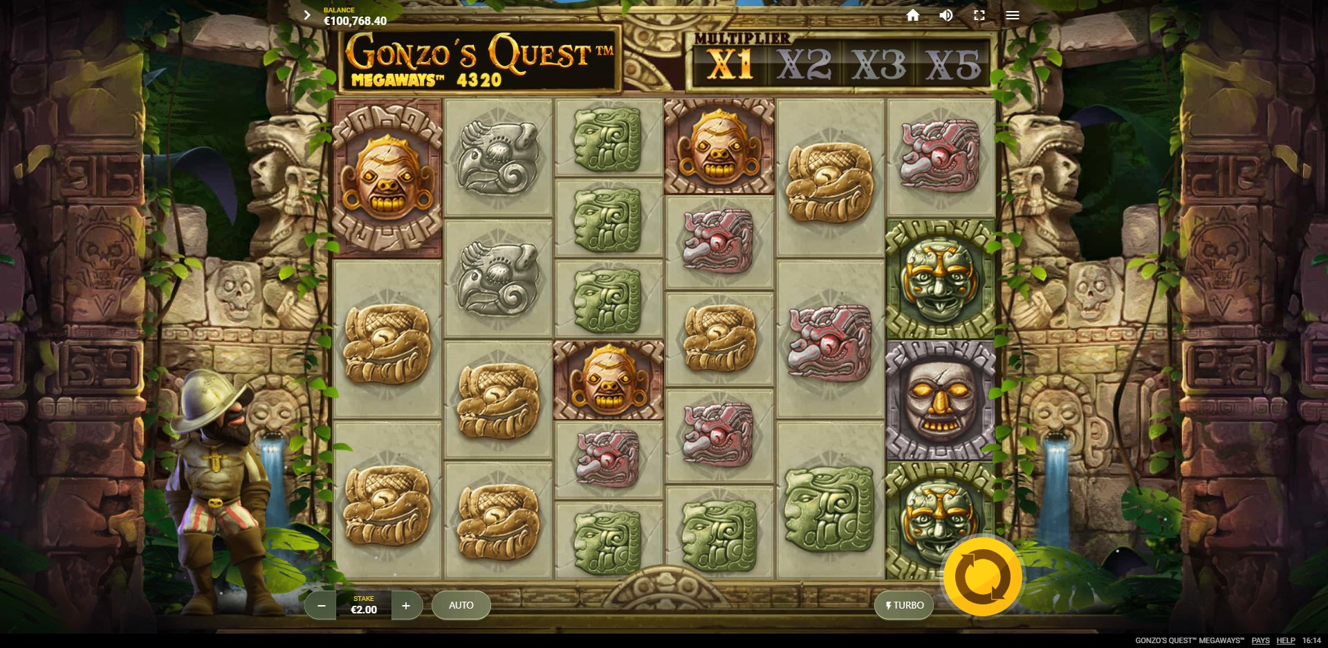 slots-gonzos-quest-slot-red-tiger-reels-during-main-game