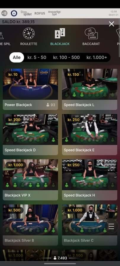 Play Jango Blackjack spil