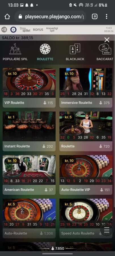 play jango roulette spil