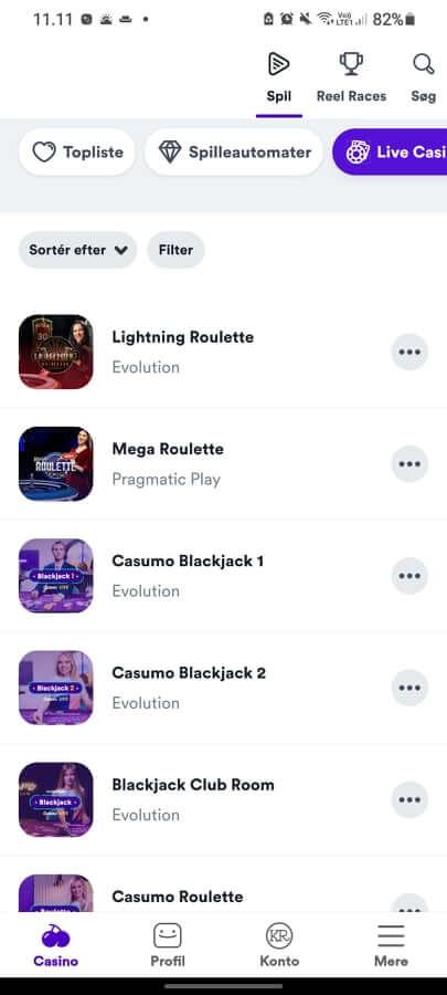 Casumo App Live Casino
