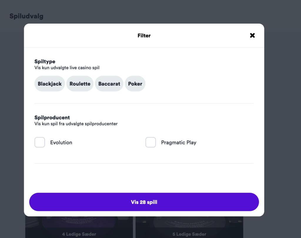 Filterfunktion i casino platform