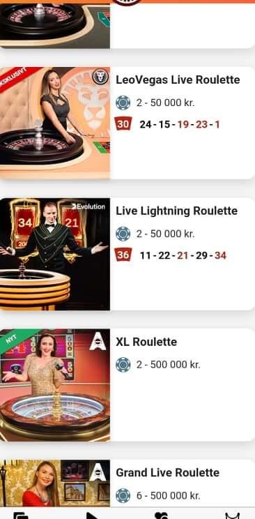LeoVegas Roulette Varianter fra mobilen