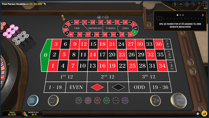 Nordicbet first person roulette